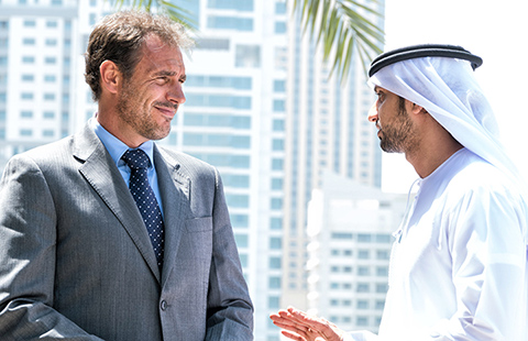 a western and arabic businessman in friendly discussion